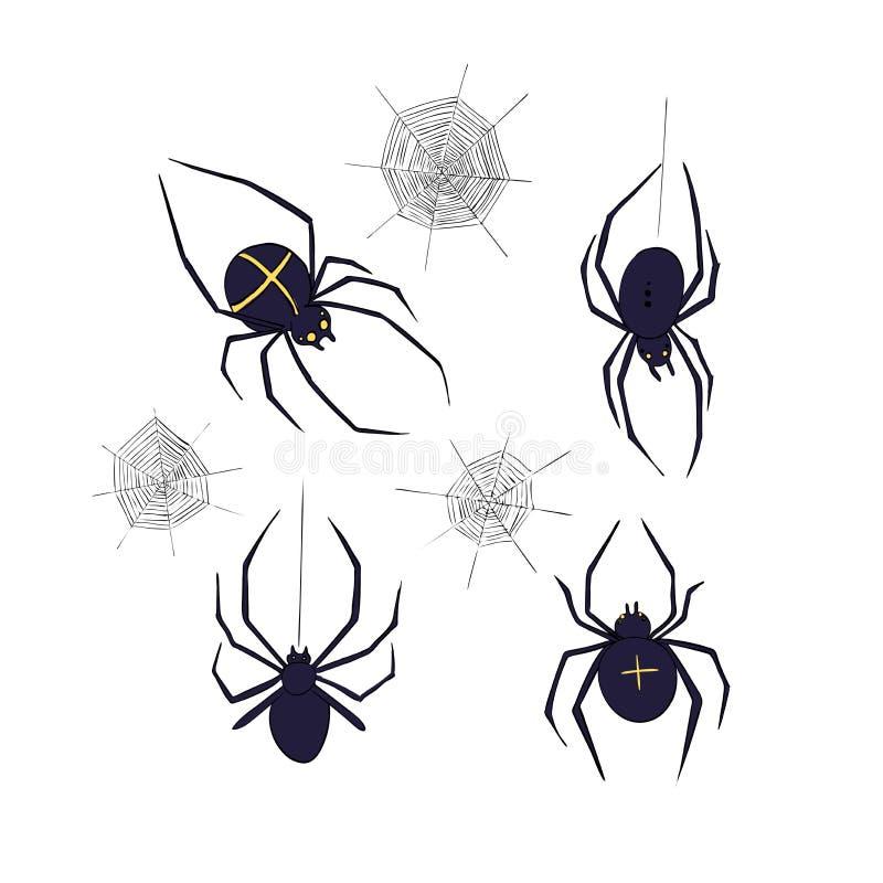 Spinnen eingestellt Symbol von Phobien und von Horror Auslegung für Halloween lizenzfreie abbildung