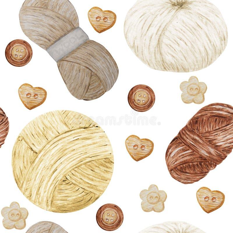 Spinnen nahtloses strickendes und häkelndes Hobby Muster des Aquarells, Wolle nettes Sammlung Handgezogene Bälle des Garns für vektor abbildung