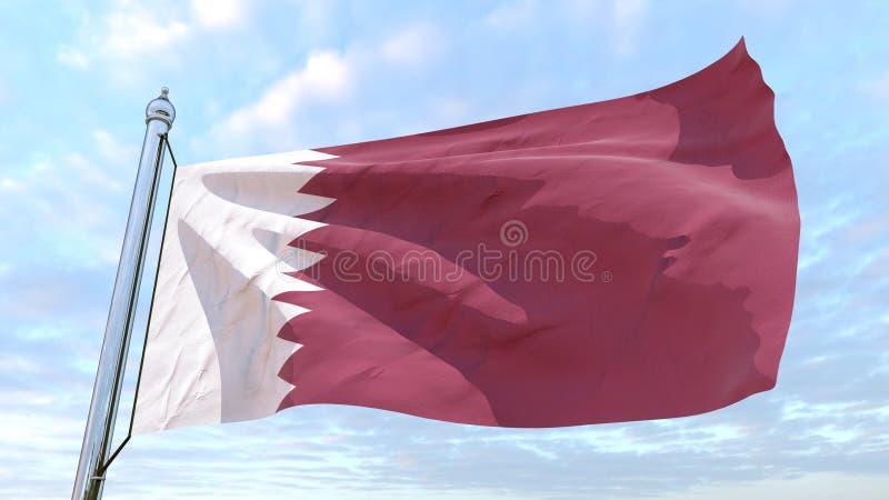 Spinnende Landesflagge Katar lizenzfreie abbildung