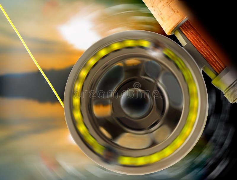 Spinnende Vliegspoel - Aansluiting - Vissen  royalty-vrije stock afbeeldingen