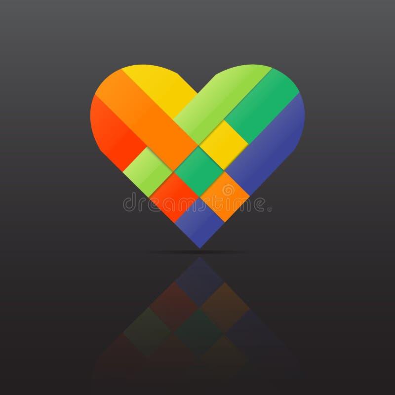Spinnendes Herz des Papierstreifens Farb Vektor stock abbildung