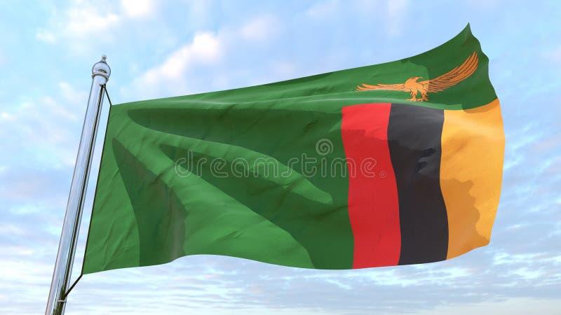 Spinnendes Landesflagge Sambia lizenzfreie abbildung