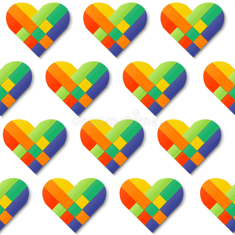 Spinnendes nahtloses Muster des Herzens des Papierstreifens Farb vektor abbildung