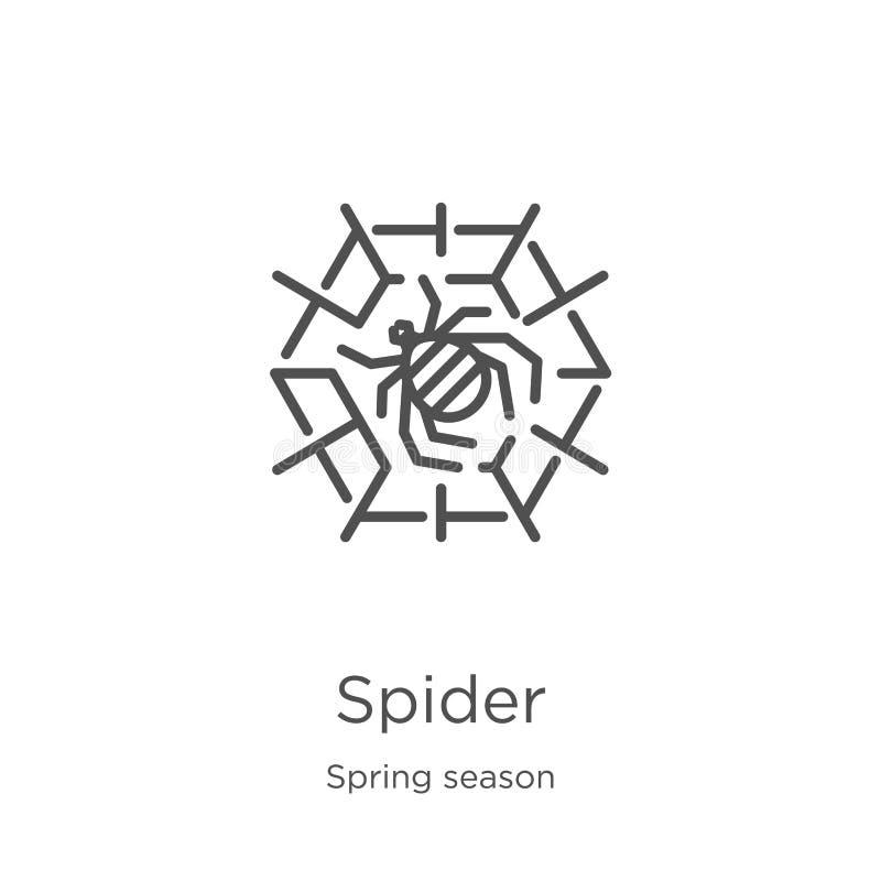 Spinnenikonenvektor von der Frühlings-Saison-Sammlung D?nne Linie Spinnenentwurfsikonen-Vektorillustration Entwurf, dünne Linie S stock abbildung