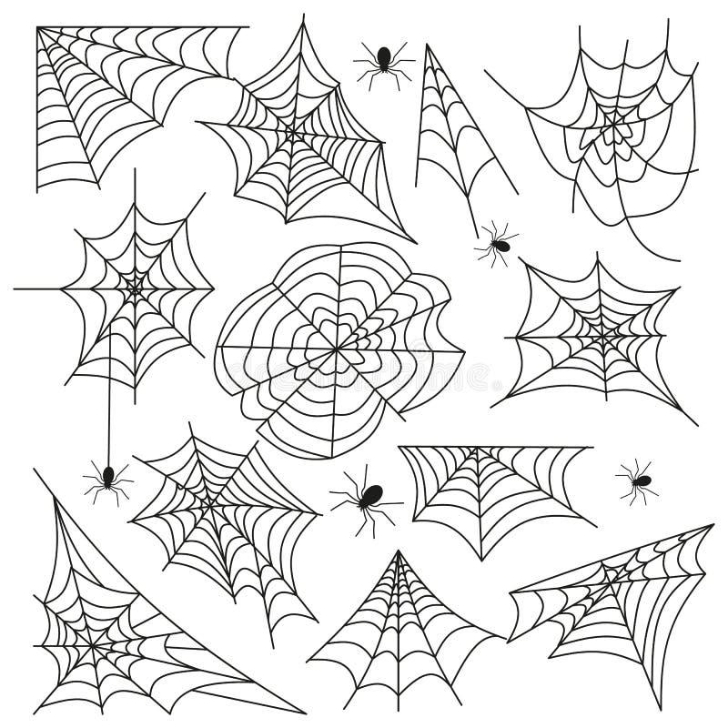 Spinnennetz-Halloween-Schwarzvektor des Spinnennetzes gesetzter stock abbildung