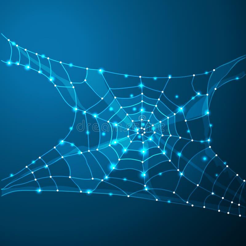 Spinnennetz-oder Spinnen-Netz Polygonlinie auf abstraktem Hintergrund Polygonaler Raum niedrig Poly mit Verbindungspunkten und Li vektor abbildung
