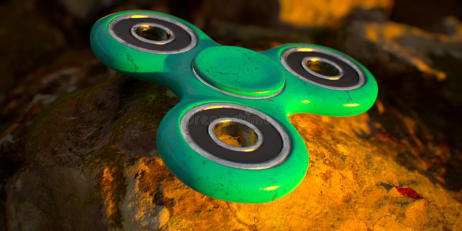 Spinner. Modern spinning spinner green metal royalty free stock images