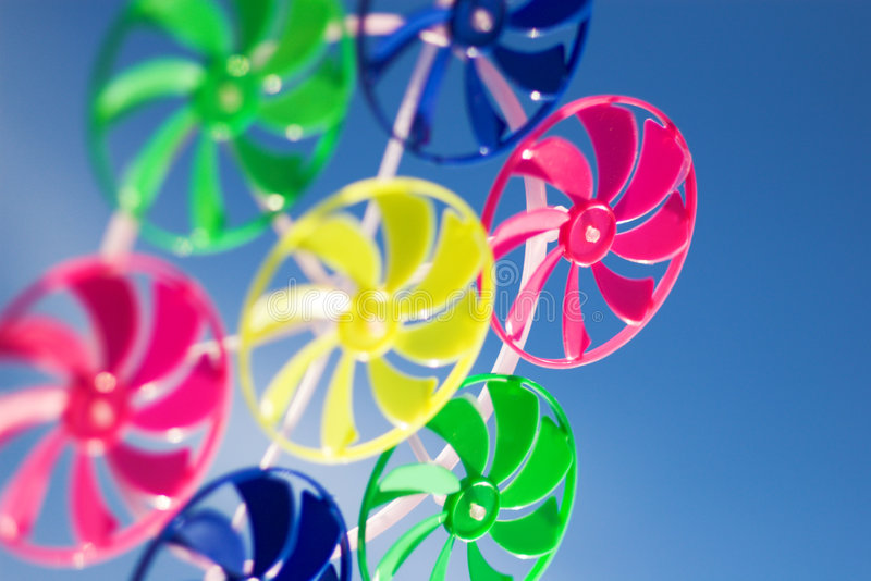 Spinner toy. On blue skye background (shallow DOF stock photos