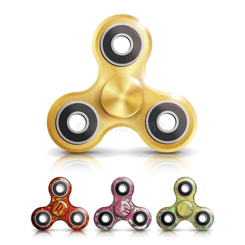 Spinner Toy Set Vector Helles beunruhigendes Handspinner-Plastikspielzeug Spinnmaschine umdrehung Unruhe-Finger-Spinner-Druck, An lizenzfreie abbildung