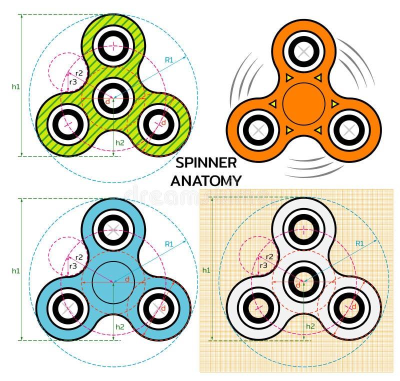 Spinnerhandspielzeug Mechanicianzeichnung von Spinneranatomie Spinnerlogo, -aufkleber oder -emblem Auch im corel abgehobenen Betr vektor abbildung
