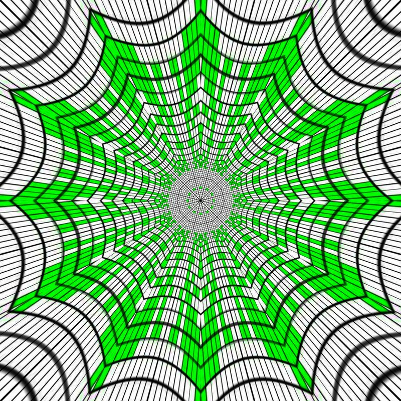 Spinneweb, abstracte mandala in groen en zwart op witte achtergrond, effect spinneweb, de lentekleuren vector illustratie