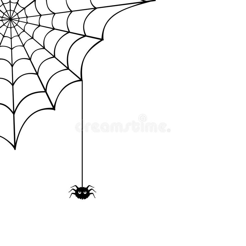 Spinneweb en spin Vector illustratie stock illustratie