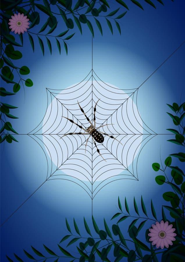 Spinneweb onder groene takken en bloemen op de achtergrond van de maan vector illustratie
