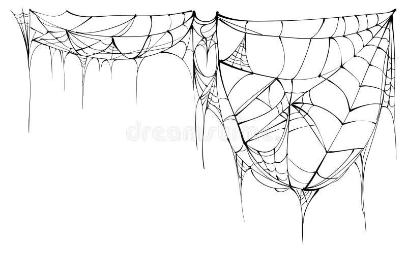 Spinneweb op witte achtergrond wordt geïsoleerd die stock illustratie