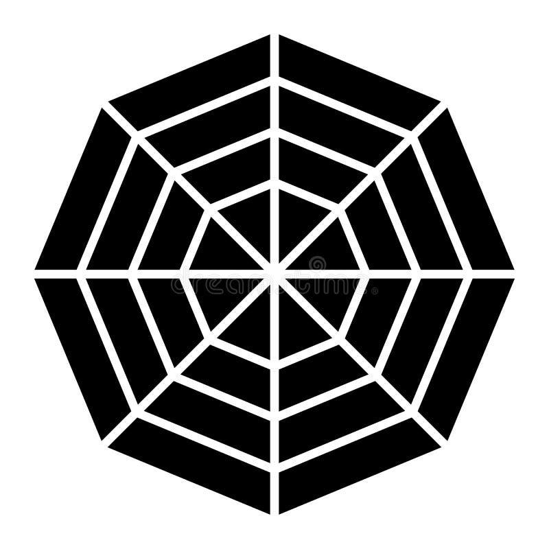 Spinneweb stevig pictogram Spin netto vectordieillustratie op wit wordt ge?soleerd Het ontwerp van de spinneweb glyph stijl, voor royalty-vrije illustratie