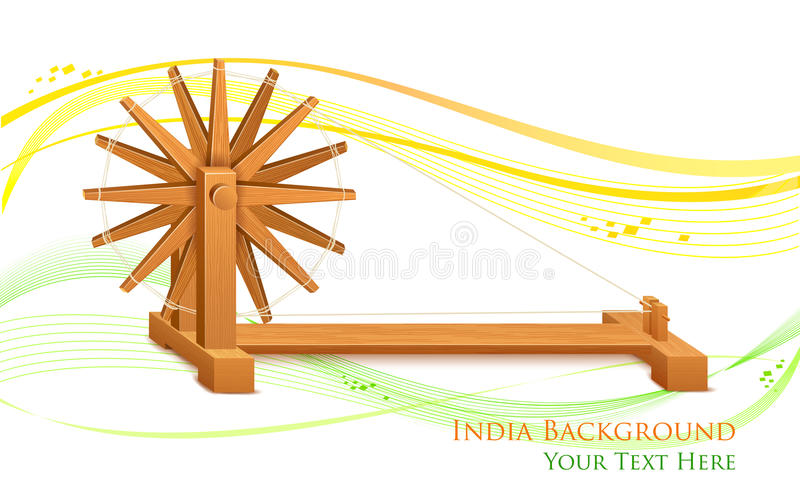 Spinnewiel op de achtergrond van India vector illustratie