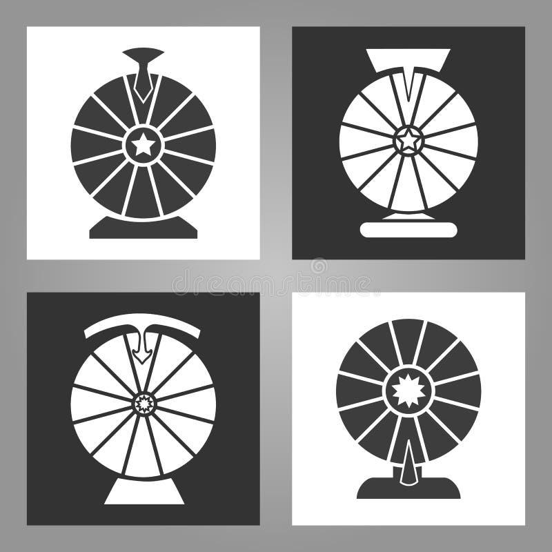 Spinnewielpictogrammen stock illustratie