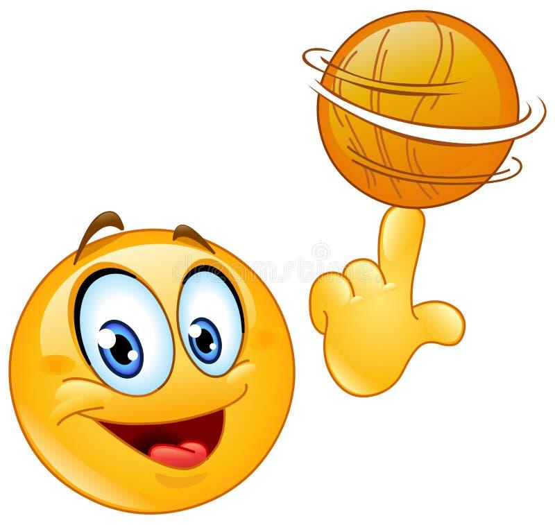 Spinning ball emoticon. Emoticon spinning a basketball on his finger royalty free illustration