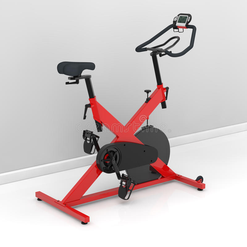 Spinning bike at home. Red spinning bike at home in the training room royalty free illustration