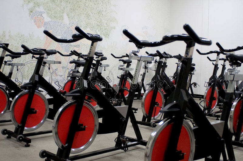 Spinning bikes royalty free stock photography