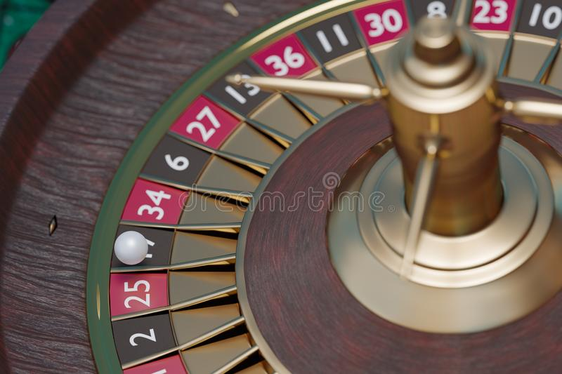 Spinning casino roulette. Gambling concept. 3D rendered illustration. Spinning casino roulette. Gambling concept. 3D rendered illustration stock illustration