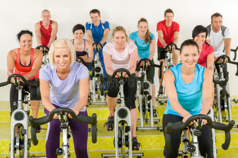 Spinning class at the gym royalty free stock image