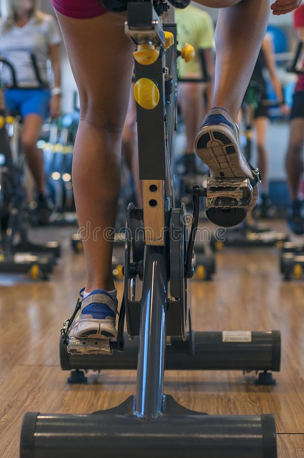 Spinning classes at the gym. Very funny spinning classes at the gym in Buenos Aires, Argentina stock photography