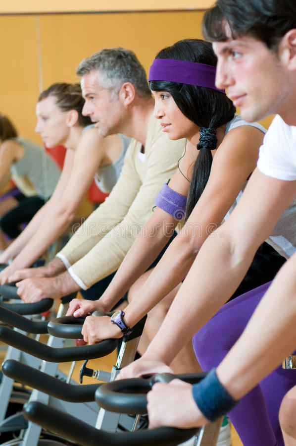 Download Spinning excercise group stock photo. Image of bicycle - 17051802