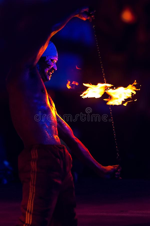 SPINNING FIRE SHOW. stock photo