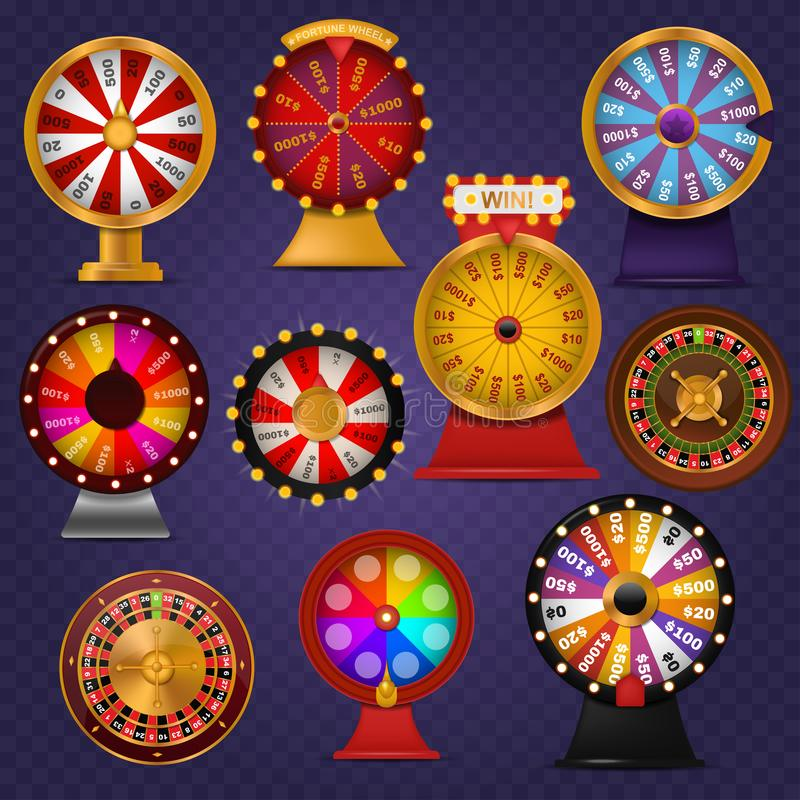 Spinning fortune wheel lucky roulette casino gamble lottery play winner chance spin slot machine vector illustration. Gambling entertainment pointer lottery vector illustration