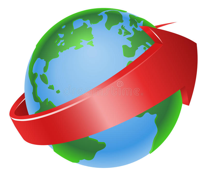 Spinning globe arrow illustration stock illustration