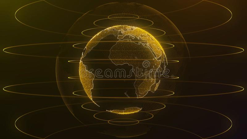 Spinning globe. Planet Earth as a glow hologram with power arc lines. Technology background loop. Planet earth rotating royalty free illustration