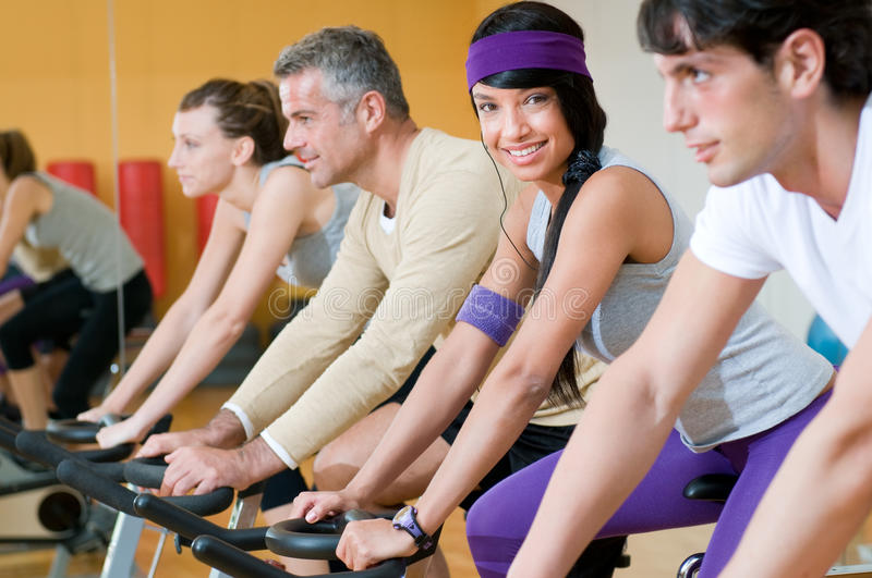 Download Spinning at the gym stock image. Image of female, friends - 17051761