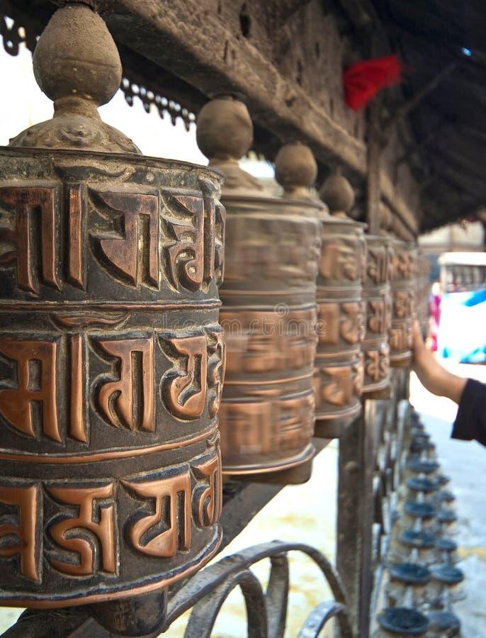 Spinning prayer wheels,nepal stock image