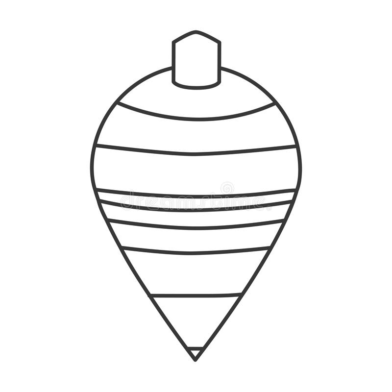 Spinning top toy. Black line striped spinning top toy illustration stock illustration