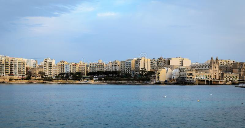 Spinola Bay, Malta, St. Julian stock photography