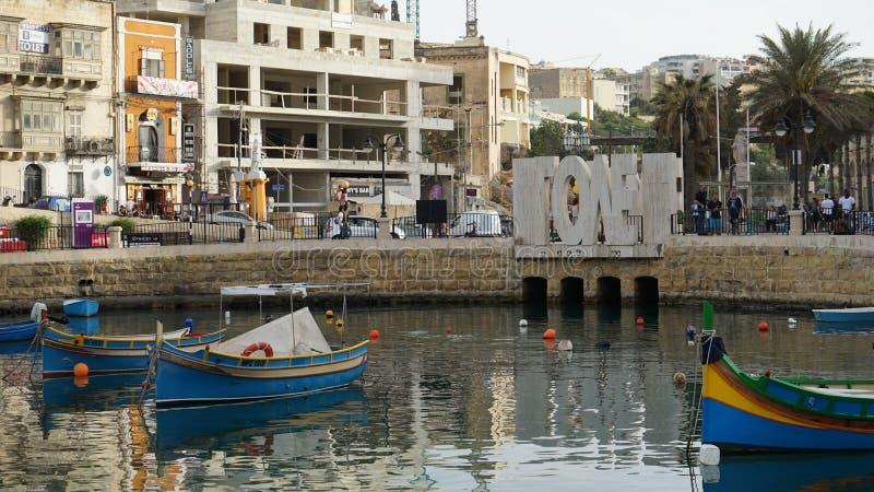 Spinola zatoka, Malta obrazy royalty free
