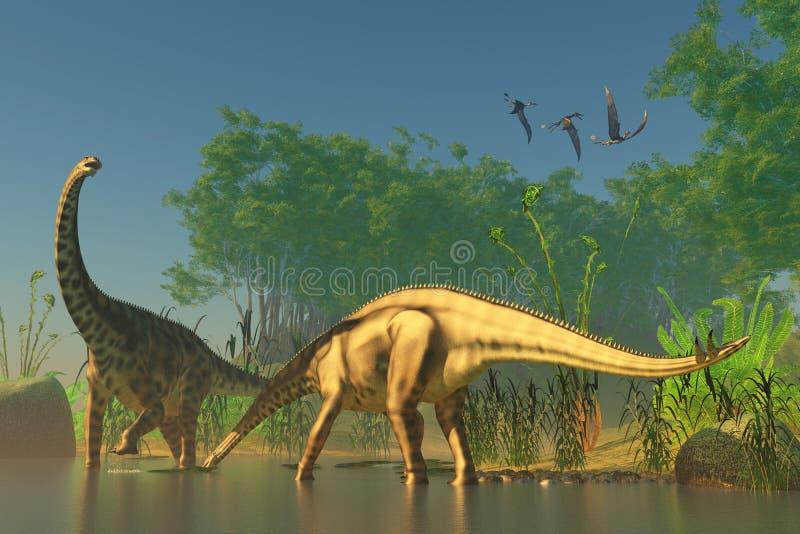 Spinophorosaurus i träsk vektor illustrationer