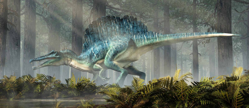 Spinosaurus в лесе иллюстрация вектора