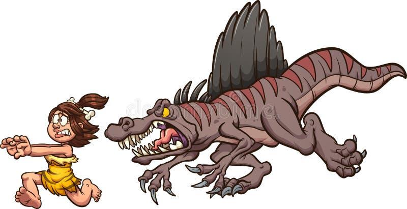 Angry cartoon spinosaurus dinosaur chasing a cave woman vector illustration
