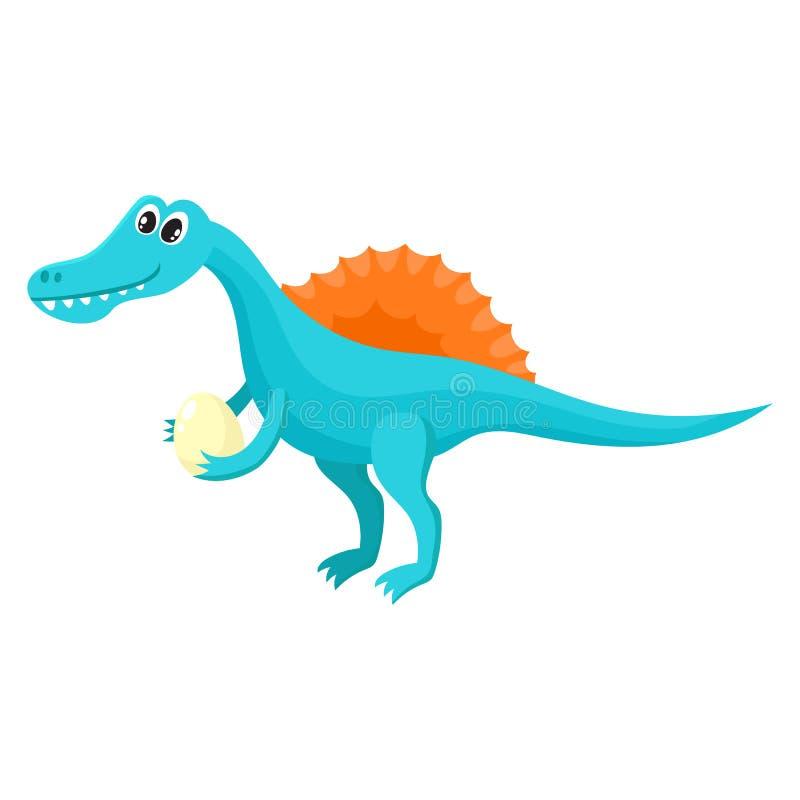 Spinosaurus de sorriso bonito e engraçado do bebê, caráter do dinossauro, elemento da decoração ilustração royalty free