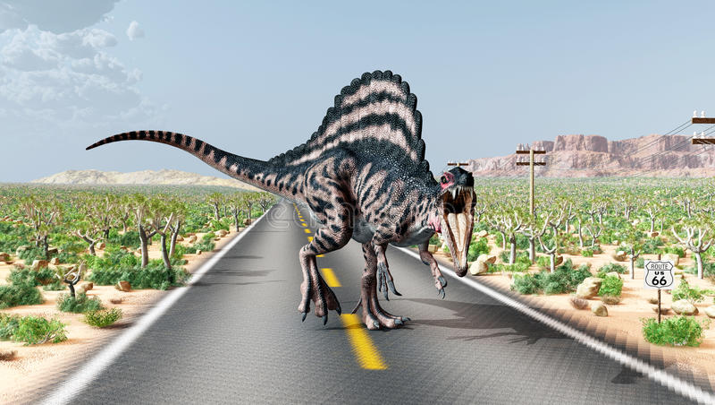 Spinosaurus en Route 66 libre illustration