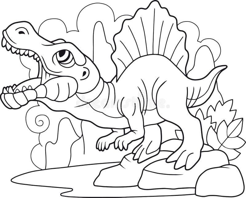 Spinosaurus prédateur de dinosaure, livre de coloriage, illustration drôle illustration stock