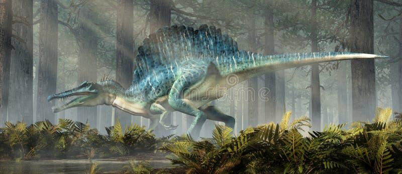 Spinosaurus in una foresta illustrazione vettoriale