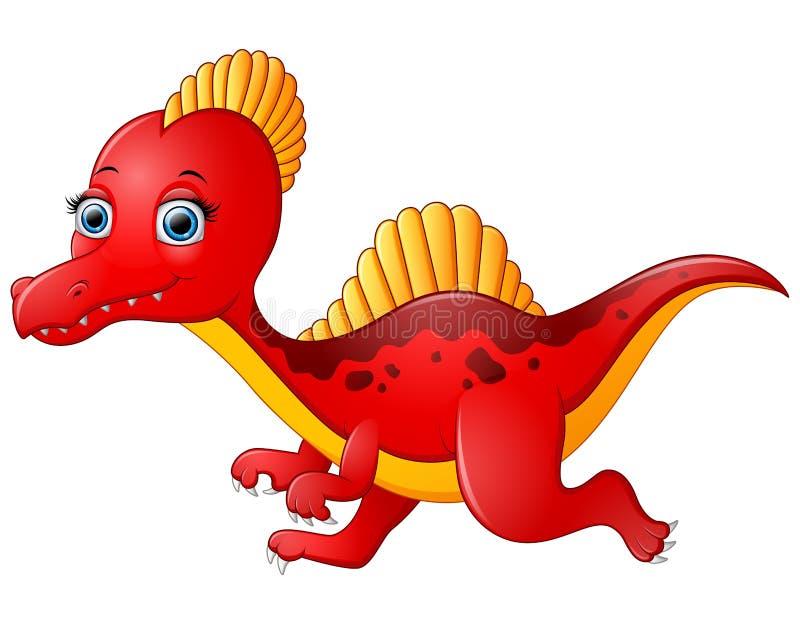 Spinosaurus vermelho dos desenhos animados isolado no fundo branco ilustração stock