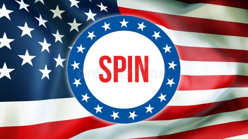 Spinowy wybory na usa tle, 3D rendering Zlani stany Ameryka zaznaczają falowanie w wiatrze Głosujący, wolności demokracja, wir ilustracji