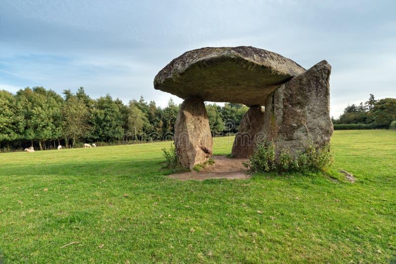 Spinster's Rock. A Neolithic Dolmen in a field near Drewsteignton in Devon royalty free stock images
