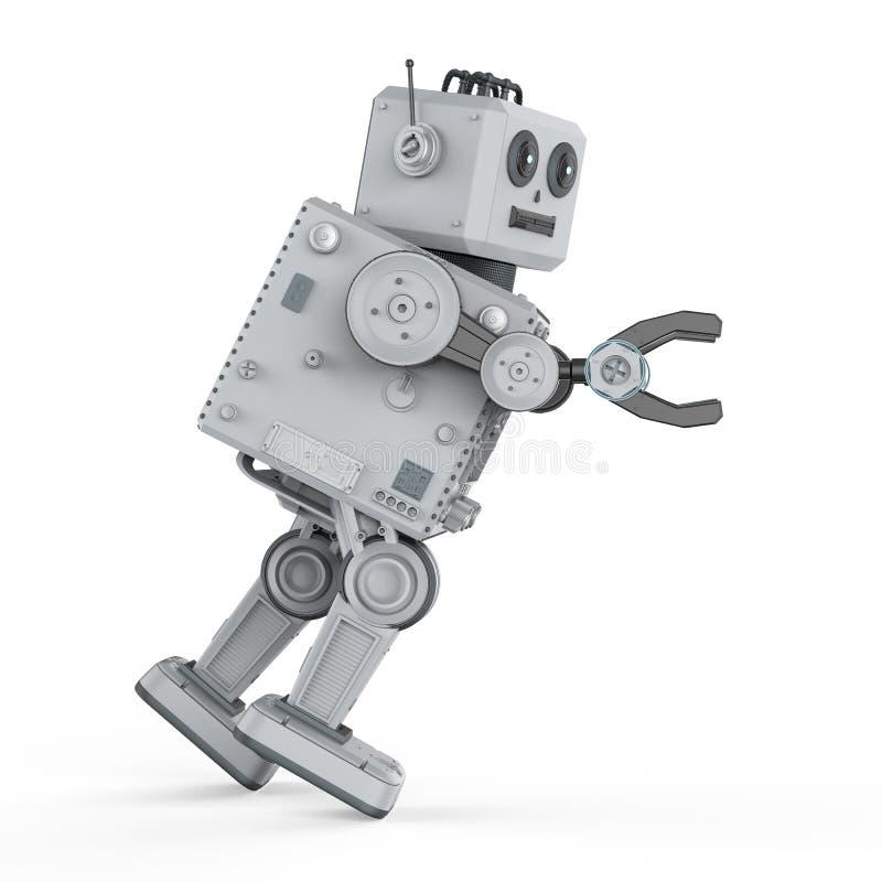 Spinta del giocattolo della latta del robot illustrazione di stock