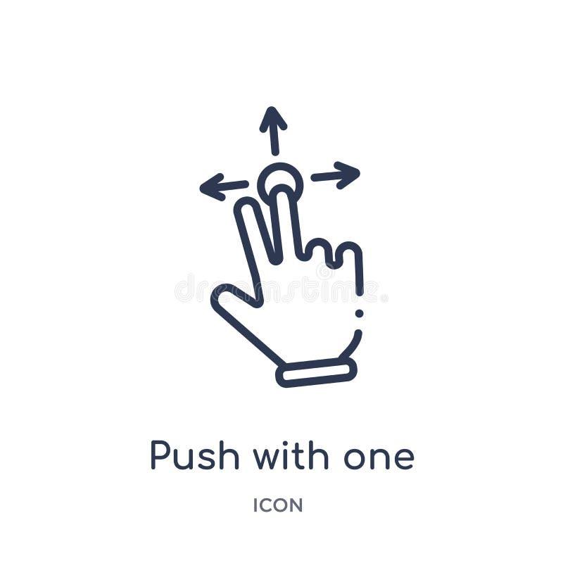 Spinta lineare con un dito per fare scorrere icona dalle mani e dalla raccolta del profilo di guestures Linea sottile spinta con  royalty illustrazione gratis