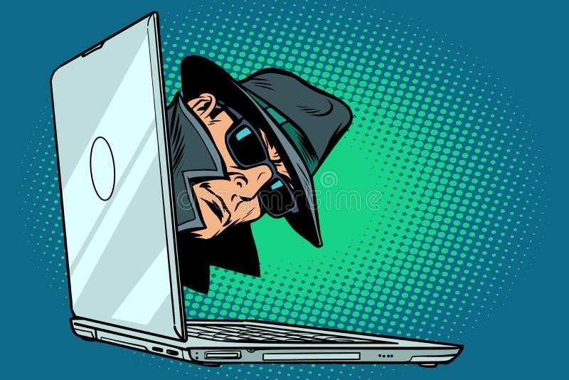 spion Notitieboekje I toezicht en het binnendringen in een beveiligd computersysteem vector illustratie